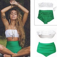 High Waist Bikini Ruffle Women Swim Bathing Suit Off Shoulder Swimwear Push Up Swimsuit Green White Beachwear Bikinis 2019 Mujer