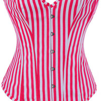 Red Stripe Print Corset with G-string