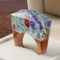 DoreenBeads Resin Secret Wood Ethereal Blossom Flower Wood Ring Multicolor Faceted Rectangle 16.9/17.9/18.7mm, 1 PCs