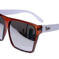 Ray Ban Clubmaster RB2128 Sunglasses White/Red Frame