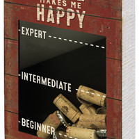 Wine Makes Me Happy - Cork Holder with Measurement Print - 12-in  x 8-in