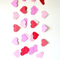 Pink and Red Heart Garland - paper heart garland, home decor, kids room decor, nursery decoration, party decor