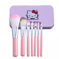7Pcs Wood Makeup Brushes Kit Professional Cosmetic Make Up Beauty Tool Makeup Brush Set WIth PU Leather Pouch Bag