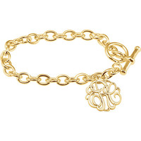 Monogram Initial bracelet, 24K gold plate over .925 silver. Cable style chain, name bracelet