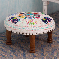 Seesham Wood Cotton Rayon 'Floral Fauna' Foot Stool (India) | Overstock.com Shopping - The Best Deals on Ottomans