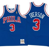 Mitchell Ness Allen Iverson 19967 Authentic Jersey Philadelphia 76ers In Blue