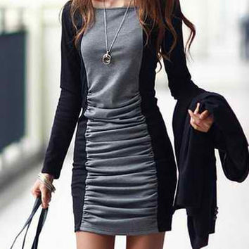 Black and Gray Long Sleeve Ruched Mini Dress