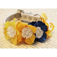Yellow Blue Floral Dog Collar, Yellow Blue Wedding dog, Summer time