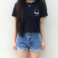Fashion lovely pure color T-shirt