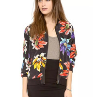 Black Floral Double Pocket Silk Jacket