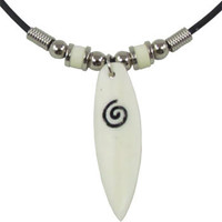 Spiral design on Surf Board Bone Carving Rubber Cord Choker