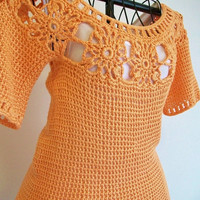 Vegan Orange Lace Top Crochet Cover Up Vintage Style Boho Romantic Beach Chic