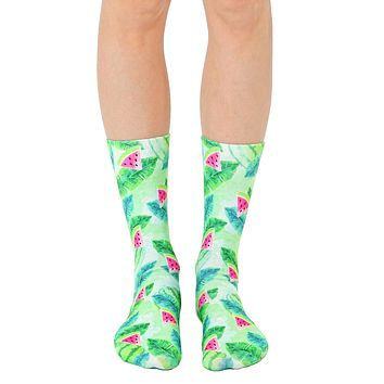 Tropical Watermelon Crew Socks