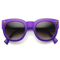 Womens Blogger Fashion Bold Oversize Cross Temple Round Sunglasses 9119