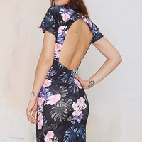 Floral Print Backless Mid Dress