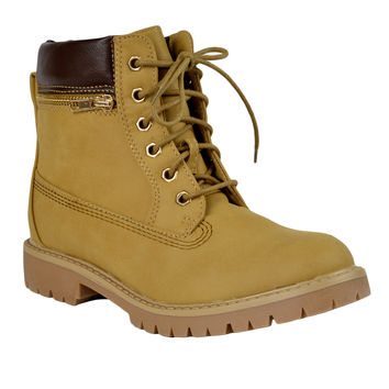 Womens Ankle Boots Rugged Zipper Accent Lace Up Hiking Shoes Tan