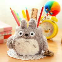 1pcs Totoro Plush Pen Holders Grid Pen Container Stationery Desk Accessories Organizer Office&school Supplies 01204