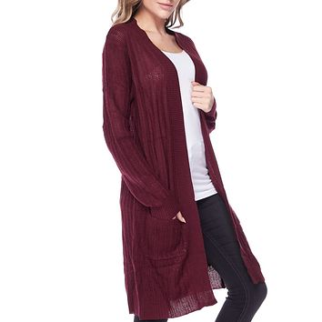 Shawl Collar Knitted Long Sleeve Longline Open Duster Cardigan