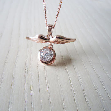 mini angel Wings necklace,rose gold necklace,Round zircon, flash,simple mini Wings necklace,best gift