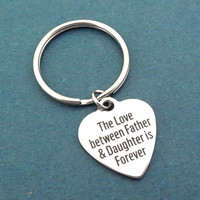 The Love between Father & Daughter is Forever, Silver, Heart, Keyring, Father's Day, Gift, Jewelry, Accessory