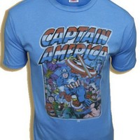 Junk Food Captain America Crowd Cool Blue Adult T-shirt Tee