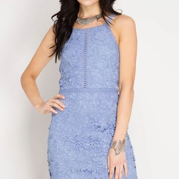 Ice Blue Lace Bodycon Dress