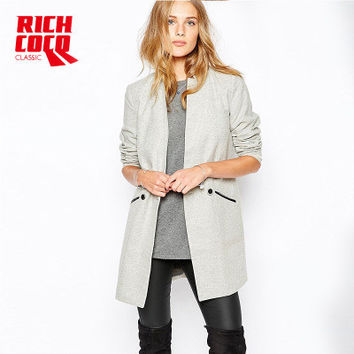 Fashion Casual Slim Long Sleeve Solid Button Business Casual Suit Outerwear Jacket a13223