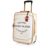 River Island Womens Cream stripe Paris wheelie suitcase
