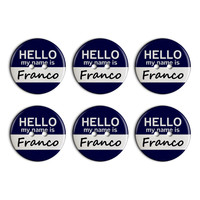 Franco Hello My Name Is Plastic Resin Button Set of 6