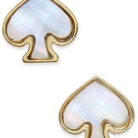 kate spade new york Signature Spade Gold-Tone Imitation Mother-Of-Pearl Earrings - Jewelry & Watches - Macy's