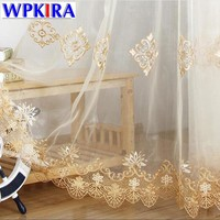 Simple Europe Luxury Gold Lace Curtain