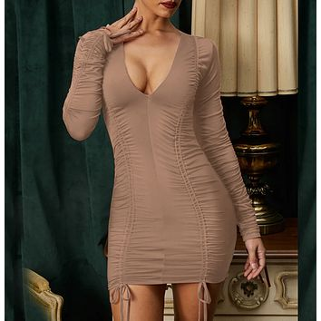 Summer women's new fashion sexy long sleeve V sexy dress Apricot