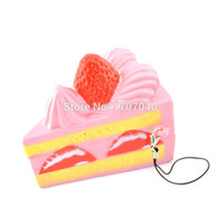 2016 New Arrival Squishy Strawberry Cake Cellphone Strap Cream Scented Super Soft Slow Rising Kids Gift Toy Hobbies 1PCS