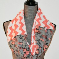 Romantic Charcoal Gray Floral Scarf with Coral Chevron Print Valentine's Day Gift