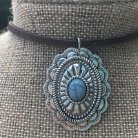 Necklace, Leather, Choker, Boho, Turquoise, Silver, Pendant, Oval, Concho, Scallop, Vintage, Bohemian, Western, Cowgirl, Hippie, Gypsy, Chic