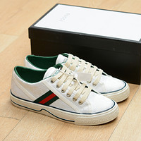 Gucci white double g white green canvas shoes