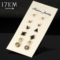 17KM Vinatge 6 PCS/Lot Crystal Stud Earrings Charming Retro Gold Color Earring Set Fashion Women Wedding Jewelry Bijoux Brinco