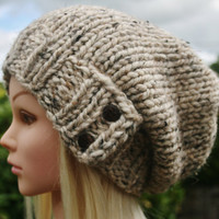 Hand Knit Hat Women's hat- Rustic Mega Chunky with wool- slouchy beanie hat- cream tweed with 2 dark coconut buttons