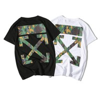 OFF WHITE Short Sleeve Couple Round-neck Cotton T-shirts [11501029196]