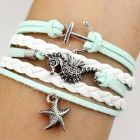 Mint green bracelet anchor bracelet seahorse brcelet starfish bracelet cute personalized jewelry friendship gift-Q630