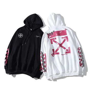 """OFF-White new sweater Fashion """"99"""" red paint graffiti letter arrow style pattern Men and women hoodies"""