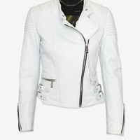 Barbara Bui Moto Leather Jacket: Ice-Just In-Clothing-Categories- IntermixOnline.com