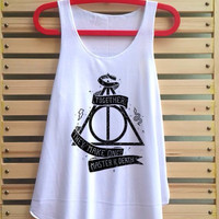 Deathly hallows shirt tank top vintage singlet harry potter clothing gryffindor vest tee tunic sleeve - size S M L