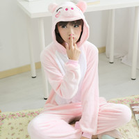 Unisex Flannel Robe Adult Animal Onesuits Cut Animal Pajamas Onesuits Pig Hooded Onesuits For Adults Pijama