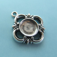 SALE - Sterling Silver Cabochon Pendant for 8mm Stone - 1 piece