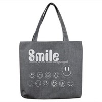 All Smiles Canvas Shoulder Tote Bag with Zipper Closure and Free Travel Cosmetic Bag / Organizer Bag (Gray)