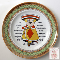 Wedgwood Antique Aesthetic Transferware Plate Jack of Diamonds Knave Playing Card