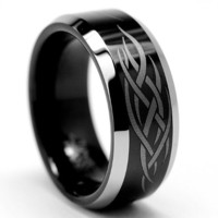 8MM Black Men's Tungsten Ring with Laser Etched Tribal Design Sizes 7 to 13