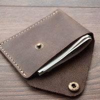 Christmas Sale -15% Leather Wallet with snap, leather card wallet, men's wallet, wallet Minimalist Wallet Leather light, red, dark - brown