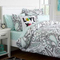 ANA PAISLEY DUVET COVER + SHEET SET, LIGHT POOL
